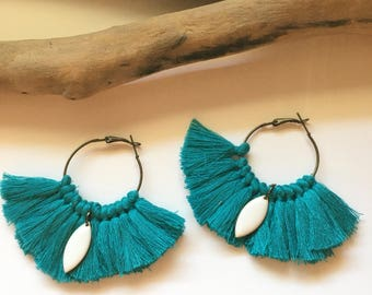 Elegant hoops & blue tassels! Large earrings, tassel pom pom pom pom earrings fancy Bohemian style