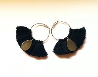 Elegant hoops & Black tassels. Large earrings, tassel pom pom pom pom earrings gold black