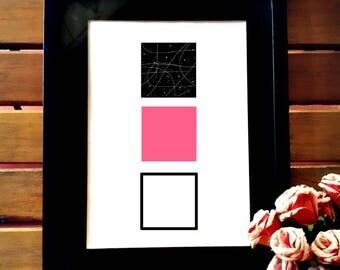 Minimalist printable art, minimalist wall art, wall decor, geometric art, pink and black geometric poster, simple geometric square
