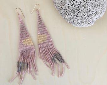 Marisha    Handmade beaded earrings with Japanese Delica seed beads