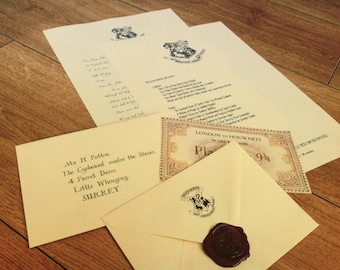 Personalised Hogwarts Acceptance Letter with Hogwarts Wax Seal! (Includes Hogwarts Express Ticket!)
