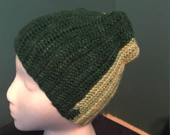 Crocheted two-tone green beanie