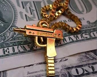Supreme Uzi pendant + chain • gold • replica • free international shipping