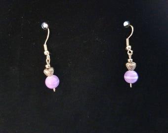 Gold Heart and Purple Earrings