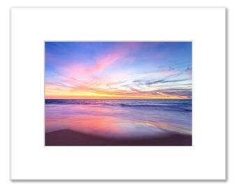Aussie Sunset Matted Photo Print (5x7 inches), Claytons Beach, Mindarie, Western Australia