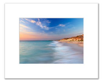 Sunset over Quinns Rocks Beach, Matted Photo Print (5x7 inches), Quinns Rocks, Wanneroo, Western Australia