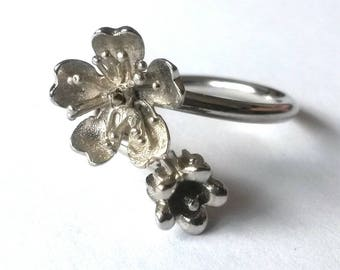 Sakura, cherry blossom and Valley on Silver 925 ring