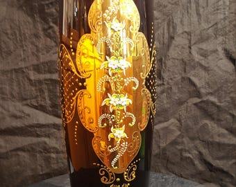 "Italian Venetian Barbini Murano Handmade 24K Gold & Purple 18"" Vase"