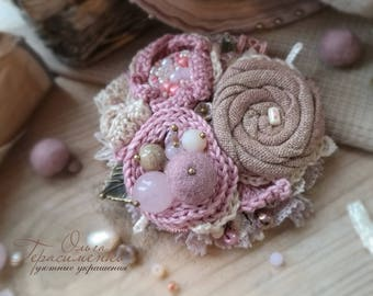 Fabric brooch in the style of a boho, textile jewelry, pink knitted  brooch, free shipping, flower knitted ornaments