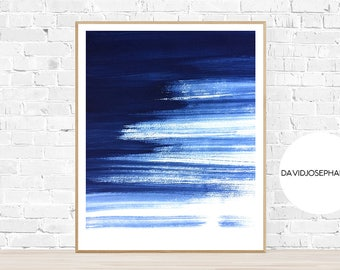 Watercolor Print, Abstract Print, Blue Print, Navy Print, Indigo Print, Modern Wall Art, Modern Print, Watercolor Poster, Digital Download