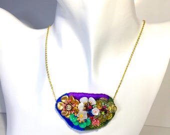 Bead  embroidered flower pendant  necklace Japanese Czech beads cotten pearlSwarovski pearl -flora-