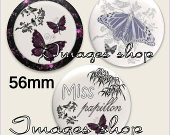 Envoi gratuit !Images pour MIROIRS - Images digitales MISS PAPILLON pour miroirs ou badge 56mm