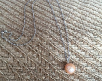 Light orange pearl sterling silver necklace / sweater chain
