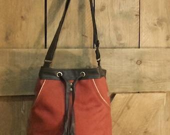 bi material bucket bag