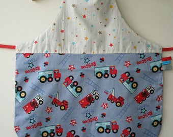"""""""fire truck and stars"""" boy apron"""