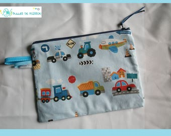 "toiletry bag, zippered pocket (child) ""small vehicles"""