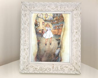 Alice in Wonderland Vintage Book Illustration. Falling Down the Rabbit Hole. Picture for Framing. Decoration for Girl's Bedroom or Nursery