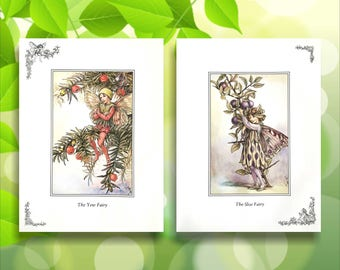 Sloe & Yew Flower Fairy Print from vintage book. Woodland Fairies Nursery themed gift for girl. Cicely Mary Barker Illustration for framing