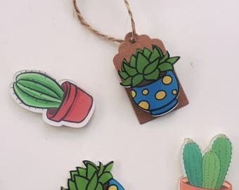 Cute succulent / cactus fridge magnet secret santa / magnet gift tag / succulent magnet tree treat! Christmas gift