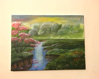 Gorgeous acrylic painting of a riverbank with beautiful rose tree to steal your attention and provoked forest at the background.