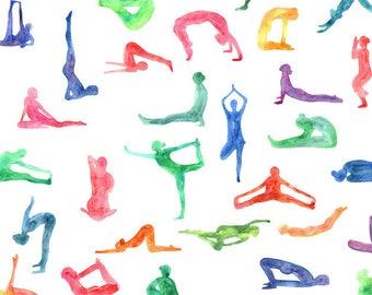 ORIGINAL design, WASHABLE and durable TABLE SET - Yoga, asanas in watercolors - classic.