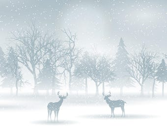SET of TABLE ORIGINAL design, WASHABLE and durable / deer a snowy night / classic.