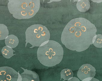 PLACEMAT DESIGN AESTHETIC, WASHABLE and durable - jellyfish gilded on green background.