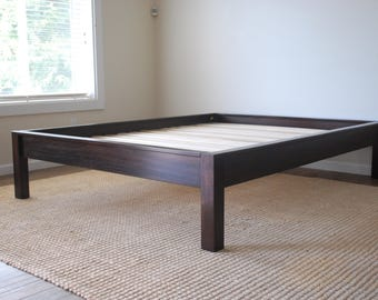 Java Platform Bed in African Mahogany, Hardwood Bed Frame, Twin, Full, Queen, King, California King