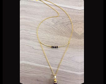 Necklace double strands with suede tassel and glass beads