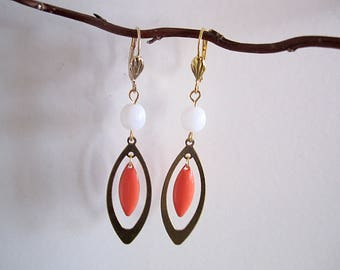 """Earrings """"shuttle"""" glazed coral color, White Pearl"""