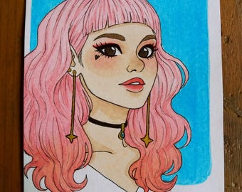 Original drawing - Haired girl pink A6 Format