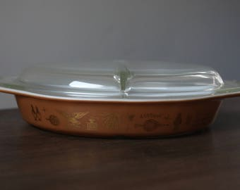 Vintage Pyrex 063 Divided Dish Early American with Lid