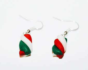 Tri-color Christmas Marshmallow earrings