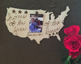 Wood Burned Wall Decor. Home of the Free because of the Brave. Military significant other