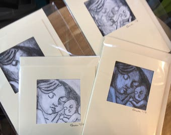 1.'Mother & Child' intaglio print greetings cards