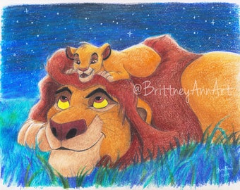 Under The Stars - Simba and Mufasa Lion King Art Print, The Lion King Artwork, The Lion King Art Print