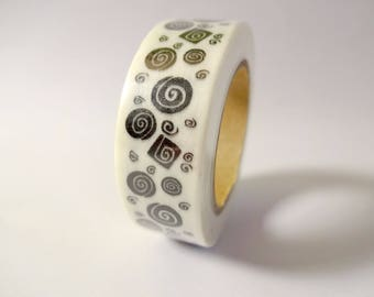 Washi tape spirals in black and white - masking tape - Scrapbook - embellishment
