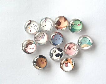 Set of 12 cabochon 12 mm Chinese zodiac sign