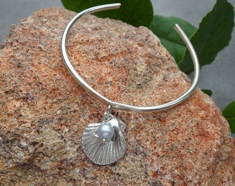Sterling Silver Bangle with Shell and Pearl Charm