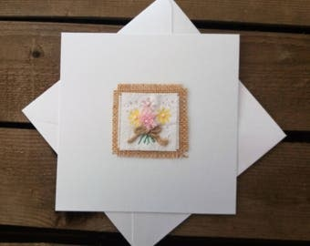 Handmade Flower Bouquet Greeting card. An all purpose card, Birthday,  Anniversary, Get Well Soon, Thank You, Thinking Of You.