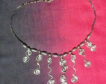 Silver & seed bead necklace