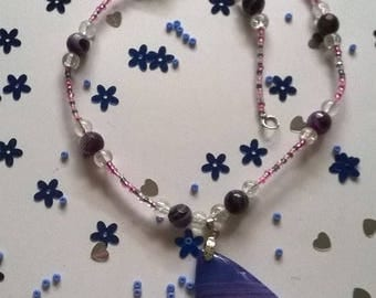 pretty purple and pink pendant necklace agate