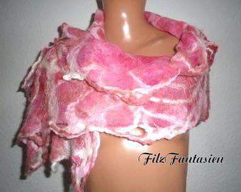 Nuno felted scarf, silk scarf, scarf, hand-colored scarf, silk chiffon scarf