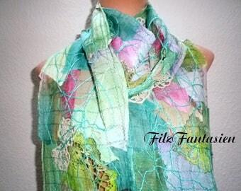 Scarf, silk scarf crazy patchwork scarf