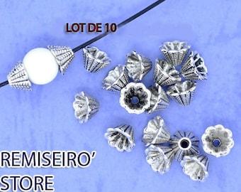 Lot de 10 perles caps calottes coupelles caps FLeurs 8 mm.