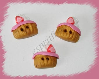 """Strawberry cupcake"" button ""Fimo"