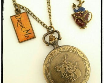 Pocket Watch necklace genuine rabbit from Alice in the land of Wonderland.