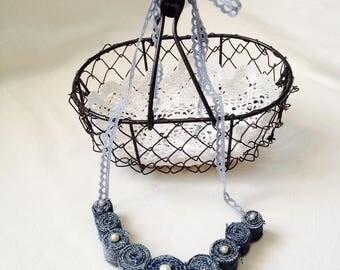 Fancy jeans blue beaded necklace