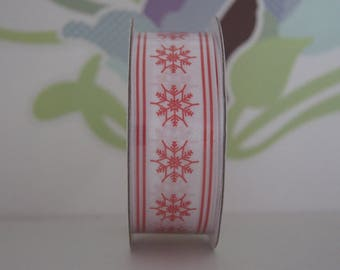 2 m x 25mm Christmas red snowflake Ribbon