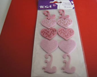 10 STICKERS FELT PINK HEARTS